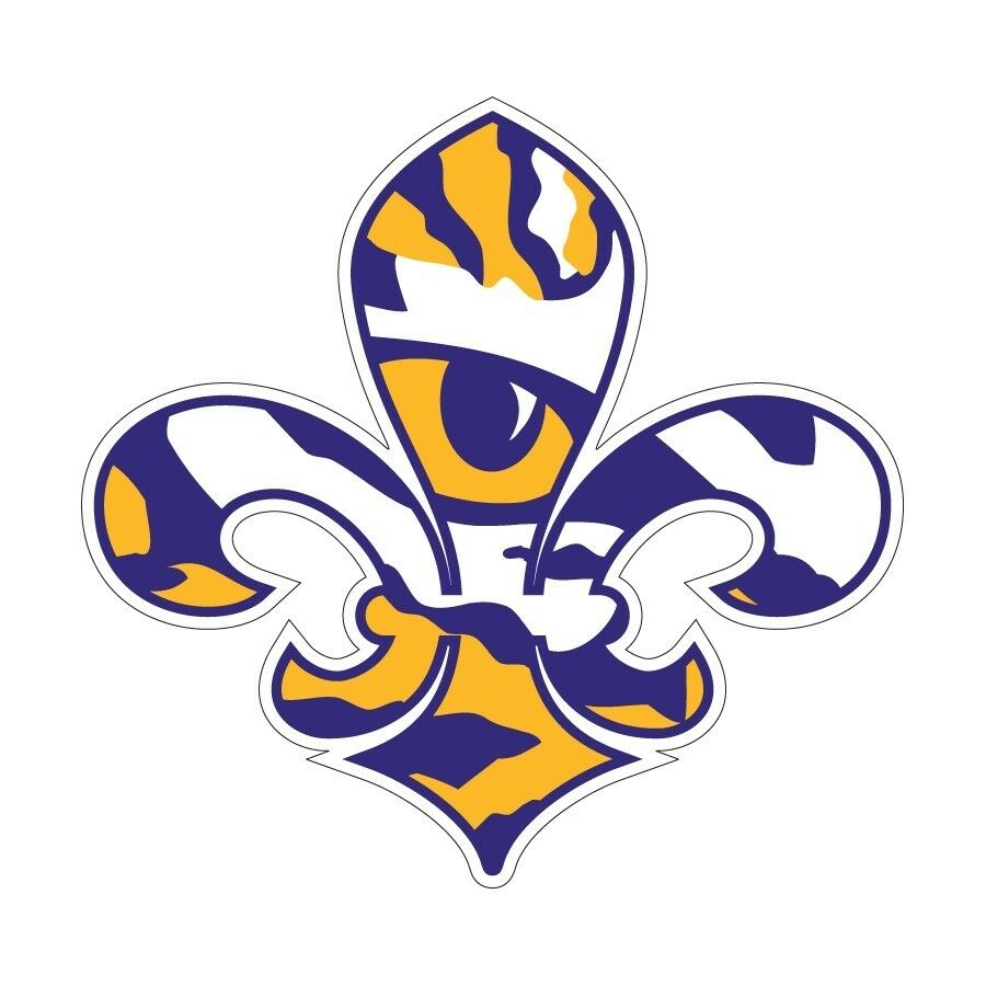 Lsu Large Tiger Eye Fleur De Lis Cornhole Decals Set Of