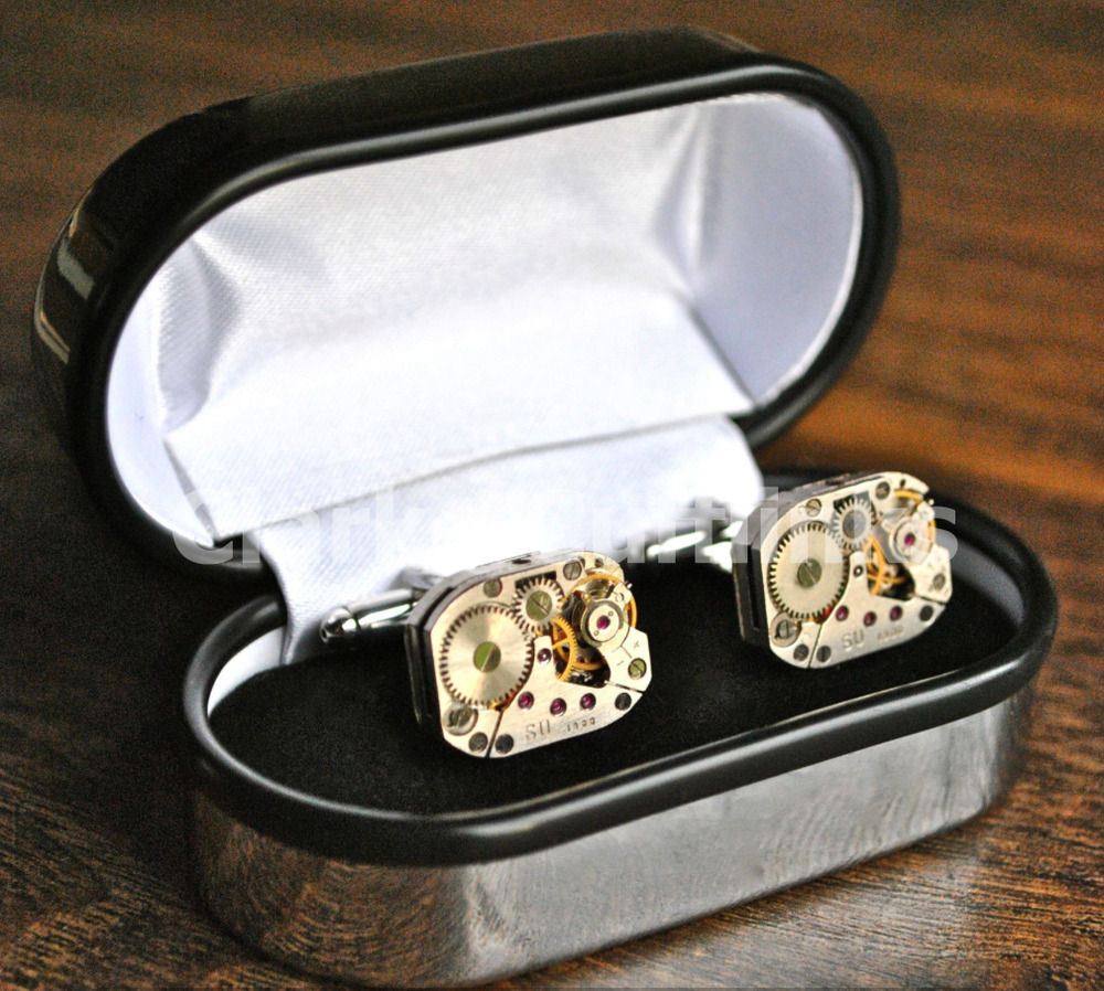 Antique Wedding Gifts: Boxed Vintage Watch Movement Cufflinks Steampunk Wedding