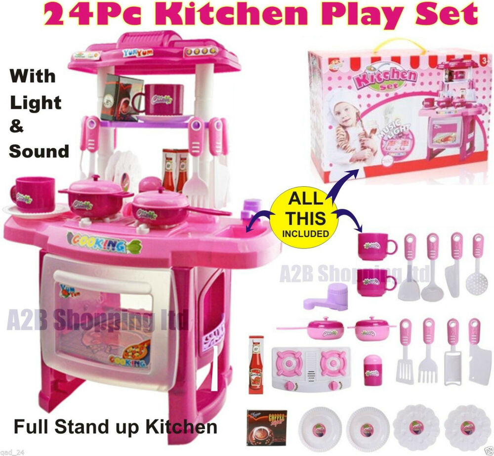 Pink kitchen small cooking role play set toy light for Small childrens kitchen set