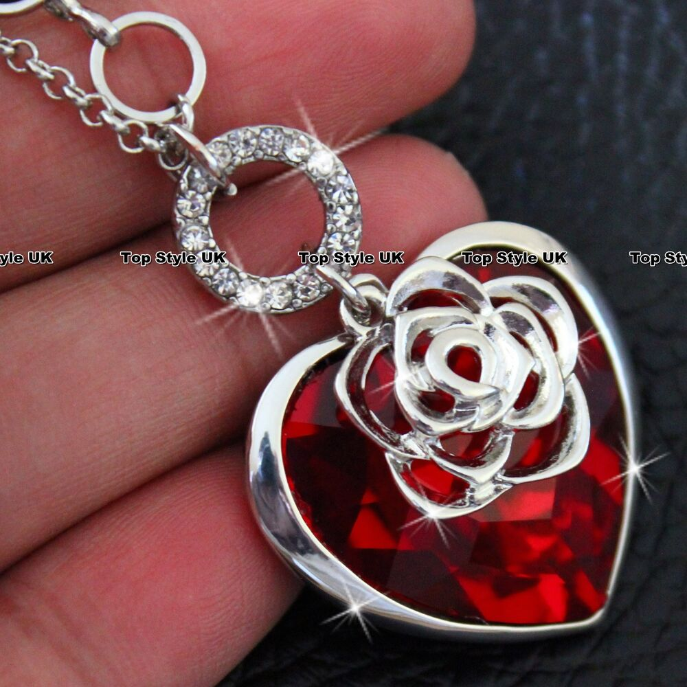 Red Ruby Crystal Diamond Heart Necklace Pendant for gift ...