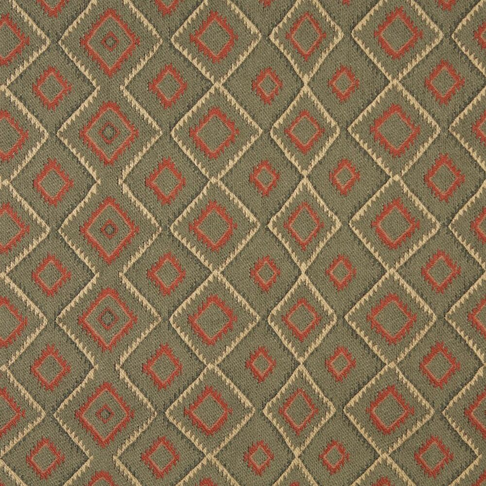 J747 Green Beige And Red Diamond Southwest Lodge Upholstery Fabric