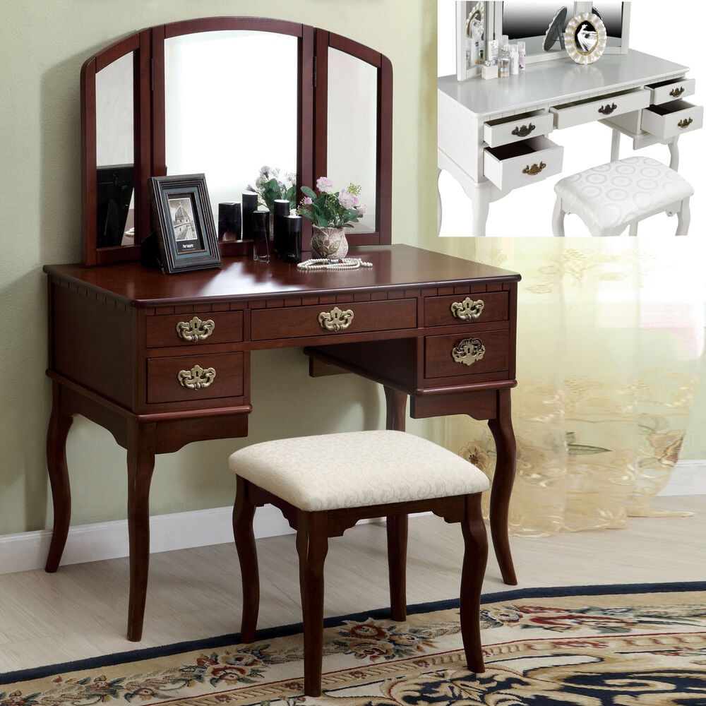 Cherry White 3 Pc Tri Folding Mirror 5 Drawers Table