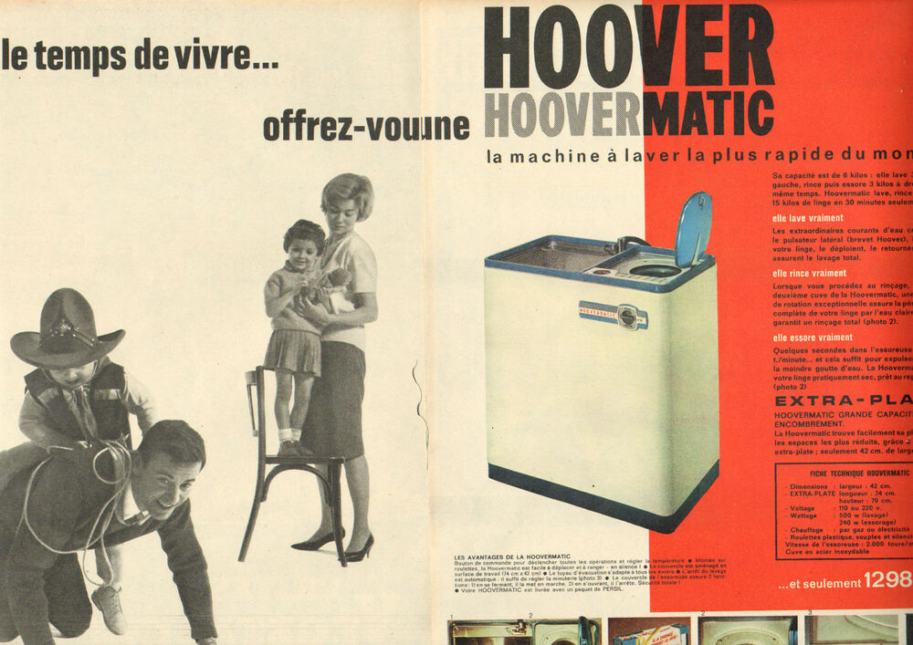publicit advertising 1961 double page hoover hoovermatic machine laver ebay. Black Bedroom Furniture Sets. Home Design Ideas