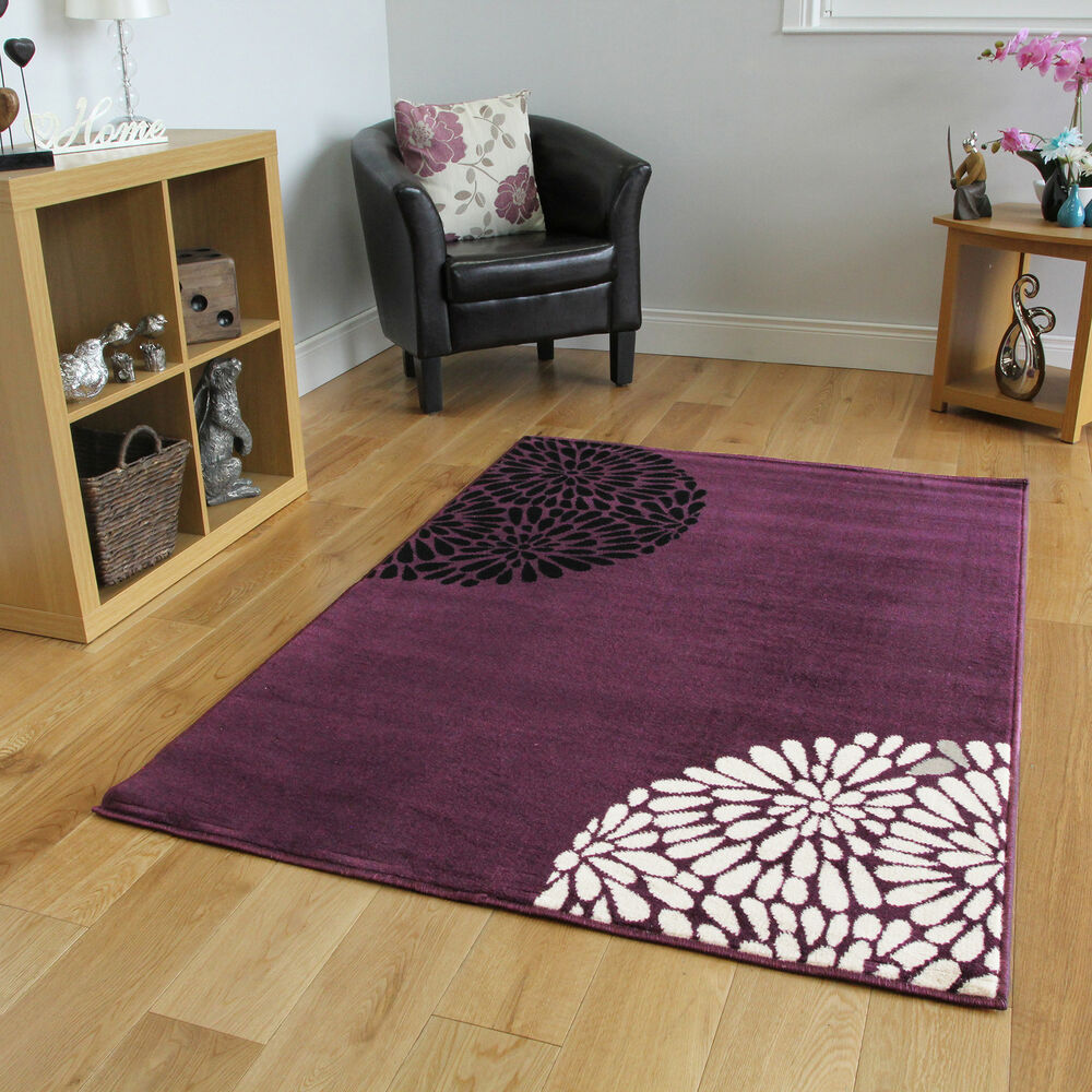 small large purple aubergine modern rugs quality soft 17318 | s l1000