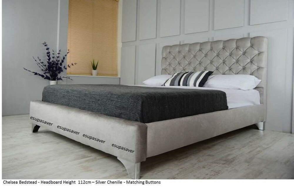 Chelsea Upholstered Chenille Bed Frame All Colours Amp Sizes