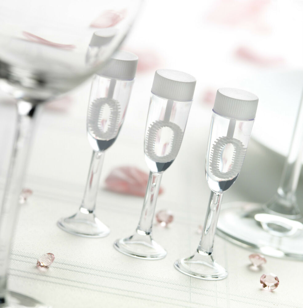 24 champagne glass wedding party blowing bubbles favour