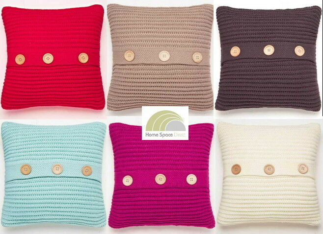 Knitting Pattern For Chunky Cushion Cover : Chunky Knit Knitted Soft Square Cushion Cover By Catherine Lansfield eBay
