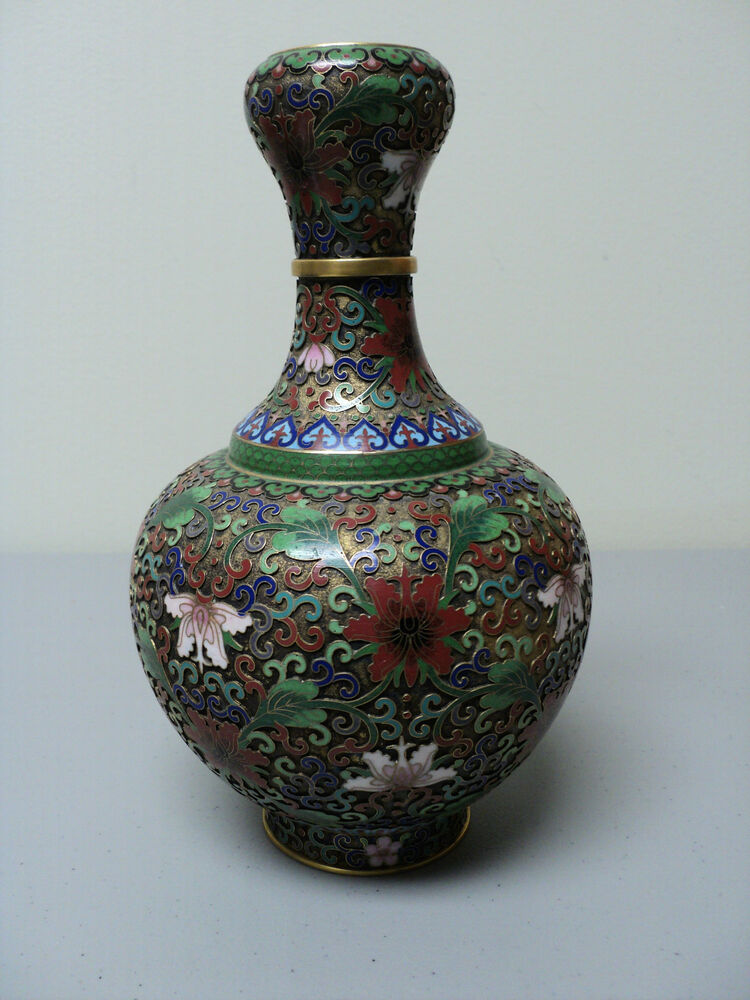 Unusual Chinese Cloisonne Enamel 9 Quot Garlic Head Vase Gilt Open Work Background Ebay