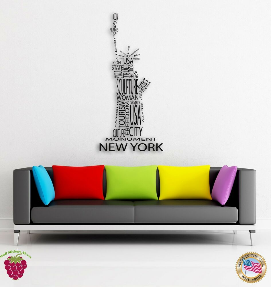 Wall sticker new york statue of liberty big apple modern for Apple boutique mural