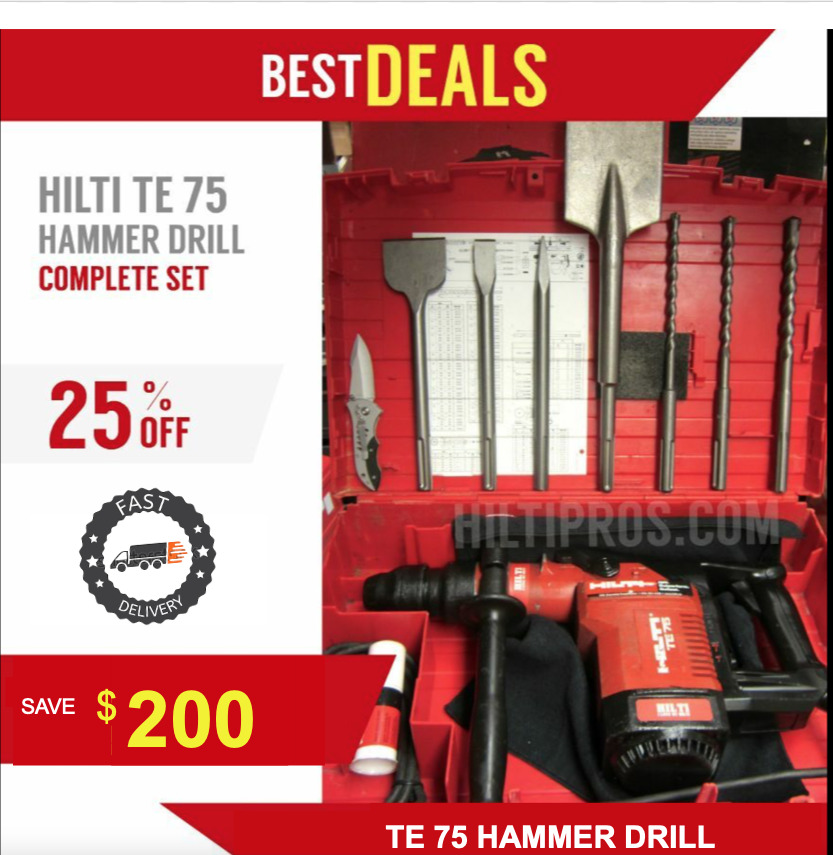 hilti te 75 hammer drill in great condition free bits chisels fast shipping ebay. Black Bedroom Furniture Sets. Home Design Ideas