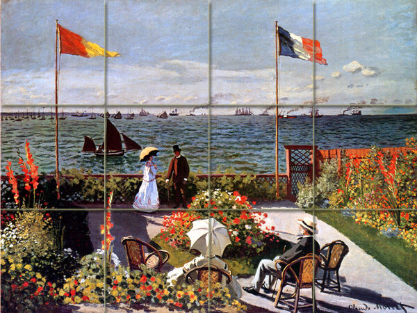 Monet Mural Tumbled Marble Terrace Seaside Sainte Adresse