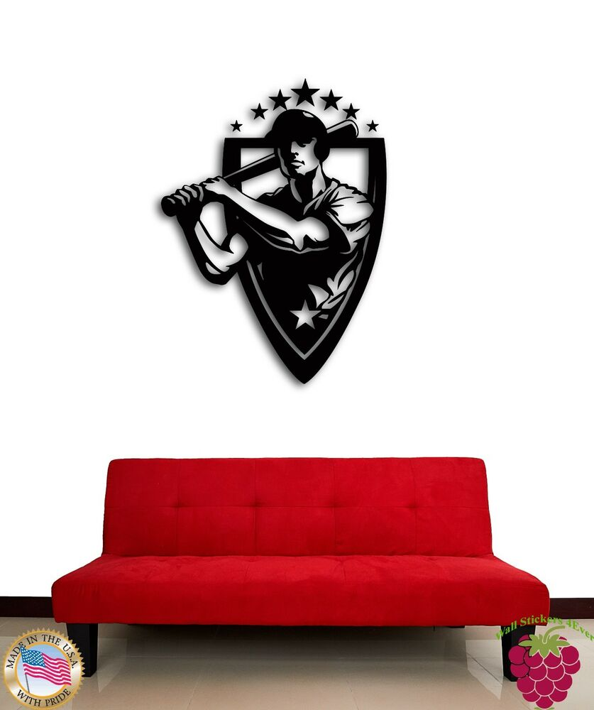 Wall sticker baseball sport american game cool decor for for Wall sticker designs for living room