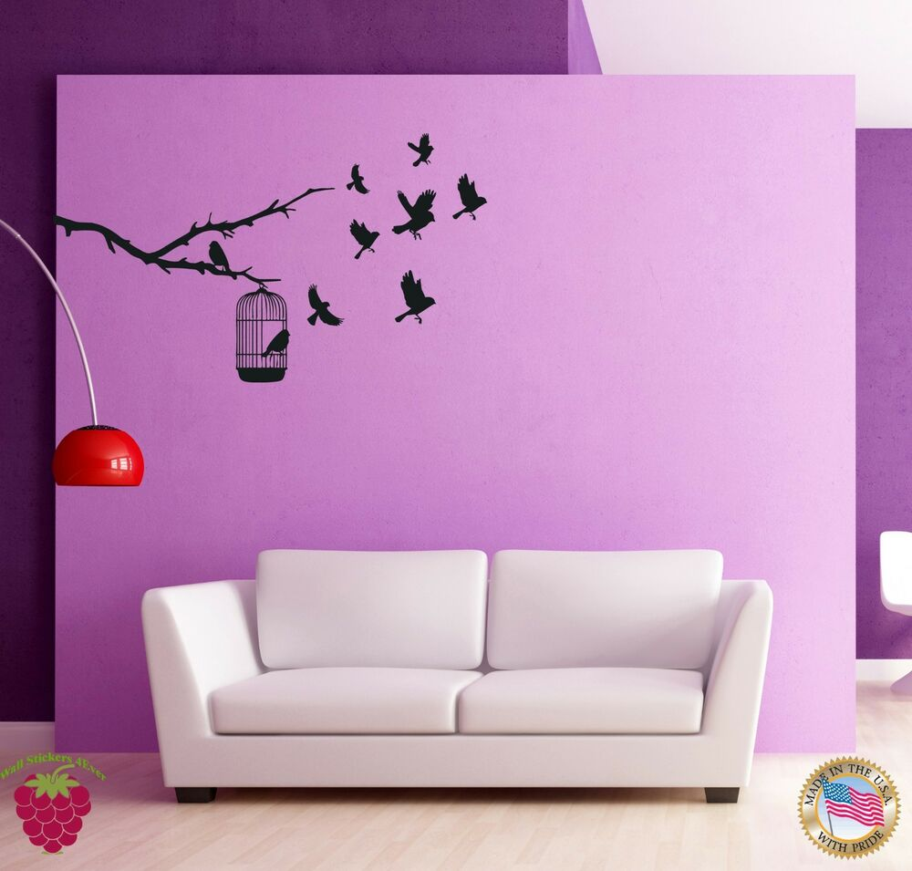 Wall sticker birds branch cage cool decor for bedroom Cool wall signs