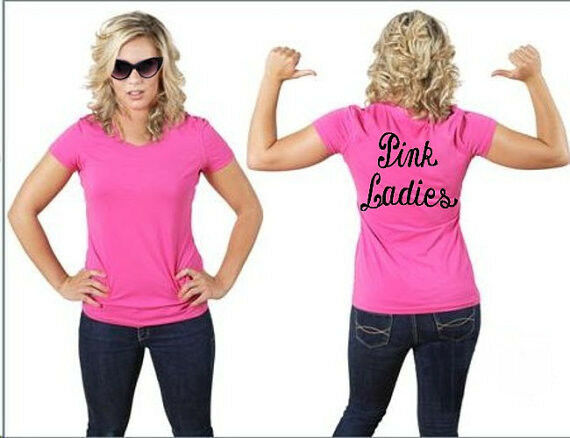 Pink ladies t shirt grease r party sock hop ladies tee for Pink ladies tee shirts
