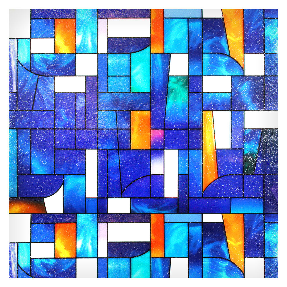 Bdf 3abst1 window film abstract stained glass ebay for Decorative stained glass windows