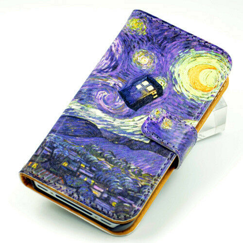 iphone 4 wallet case tardis doctor who starry gogh leather wallet 14411