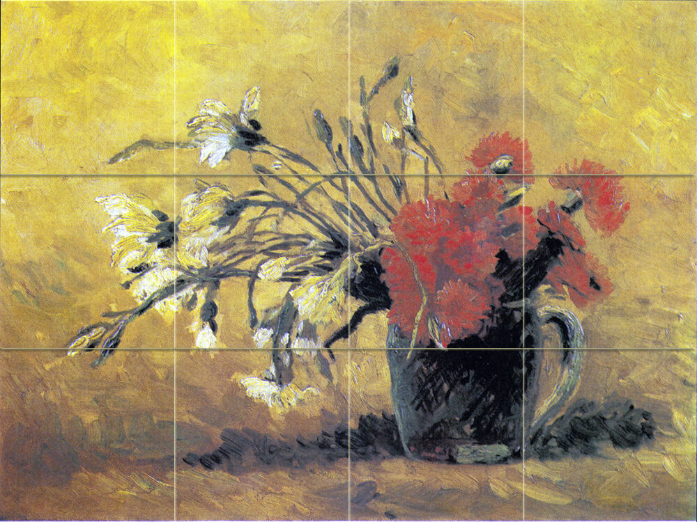 Art van gogh vase flowers kitchen mural ceramic backsplash for Mural van gogh