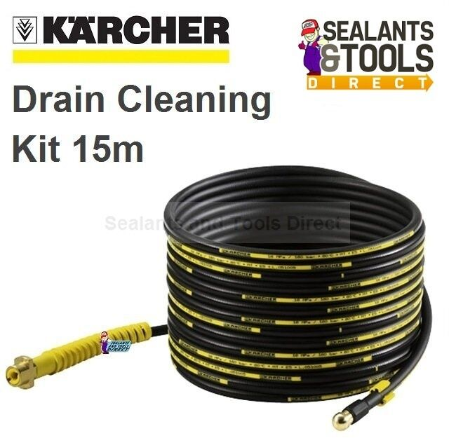 Karcher Drain Pipe Cleaning Pressure Washer Kit 15m Self Propelled Hose Cleaner Ebay