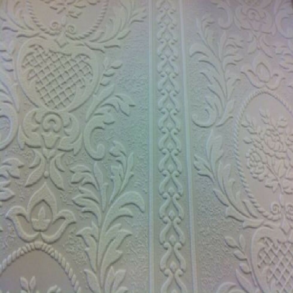 Anaglypta white blown vinyl embossed textured paintable for Embossed wallpaper