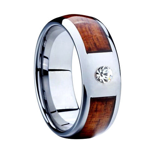 tungsten wood inlay 8mm silver lab diamonds mens ring