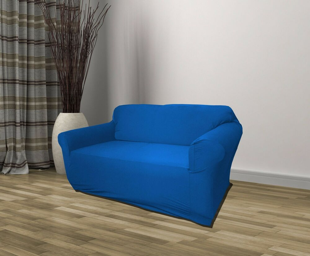 Blue jersey loveseat stretch slipcover couch cover furniture love seat cover ebay Blue loveseat slipcover