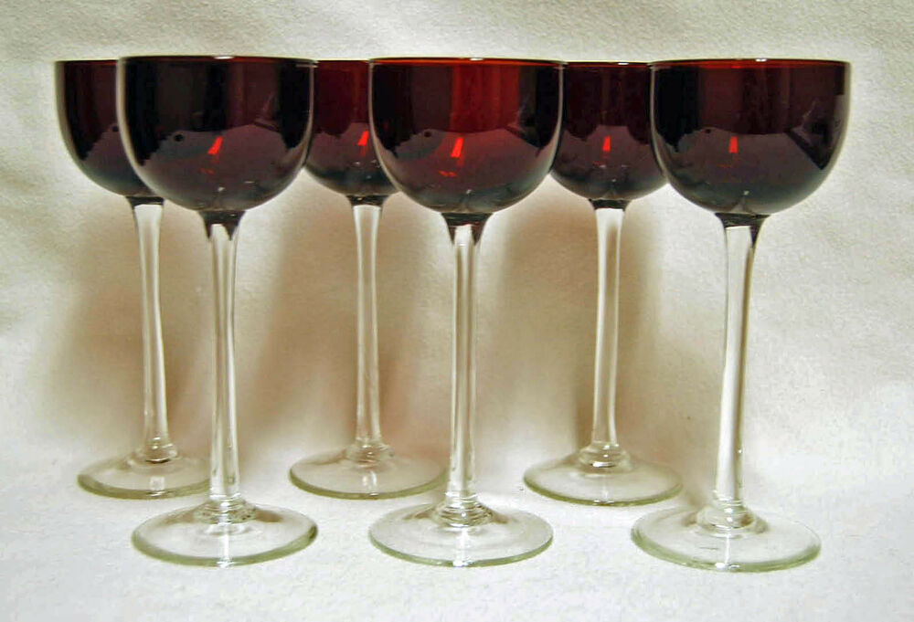 6 Hand Blown Ruby Red Cranberry Glass Cordial Wine Glasses