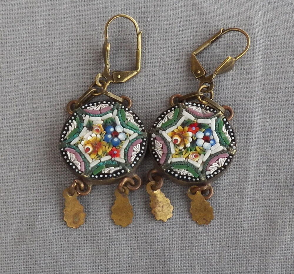 Vintage Style Earrings: Vintage Drop Dangle Floral Victorian Style Micro Mosaic