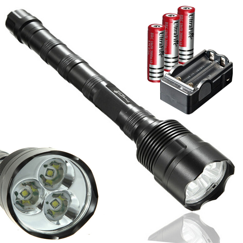 20000lm 3X CREE XM-L T6 LED Flashlight Torch + 3x 18650 ...