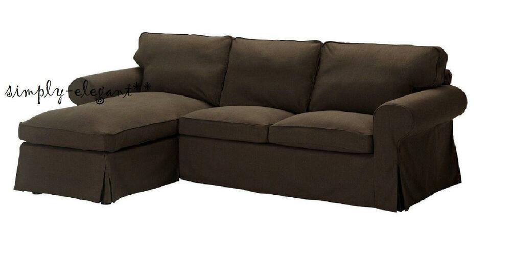 Ikea Ektorp Cover For Ektorp Loveseat With Chaise Slipcover Svanby Brown Ebay
