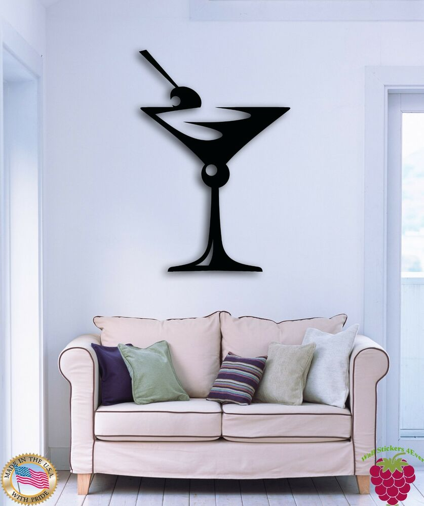 Wall sticker drink glass of martini great decor for bar or for Great decor