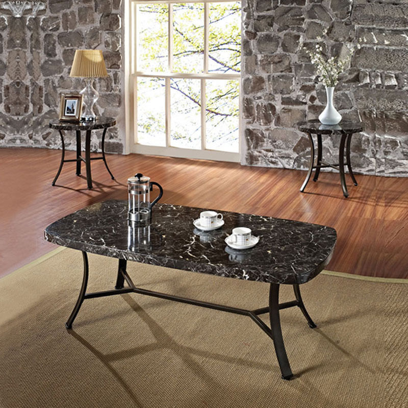 White Marble Coffee Table Set: DAISY Black White 3 PC Pack Faux Marble Top Coffee End