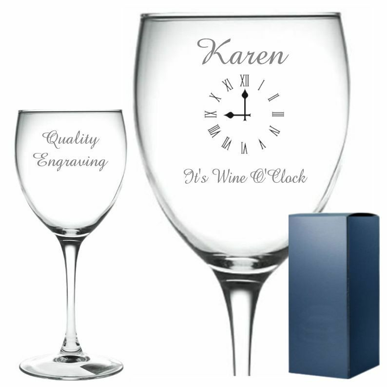 Engraved Wine Glasses For Wedding Gift : ... Engraved Wine Glass Its Wine OClock Birthday Gift Wedding eBay