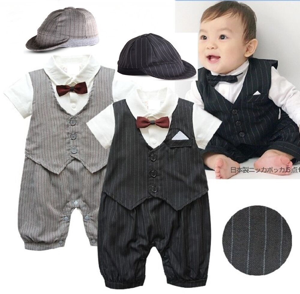 Baby Boy Wedding Formal Tuxedo Suit Romper Clothes Outfit ...