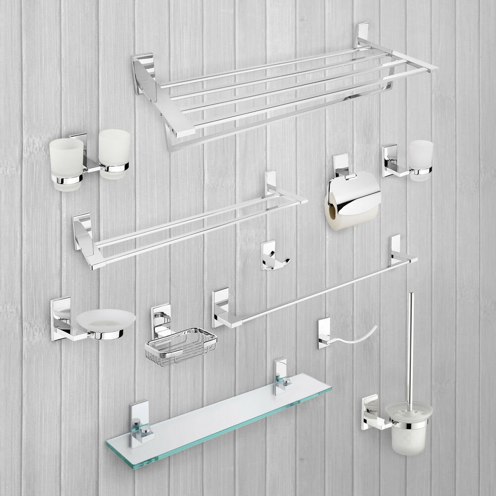 Bathroom accessories shelves towel rail toilet roll brush for Bathroom accessories toilet roll holder