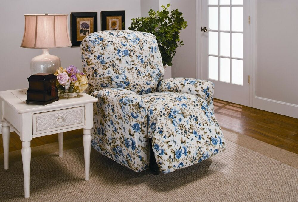 blue floral jersey recliner stretch slipcover couch cover