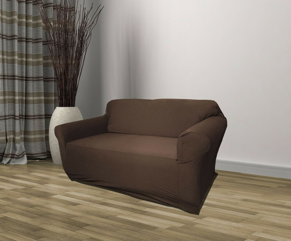 BROWN JERSEY LOVESEAT STRETCH SLIPCOVER COUCH COVER, LOVE