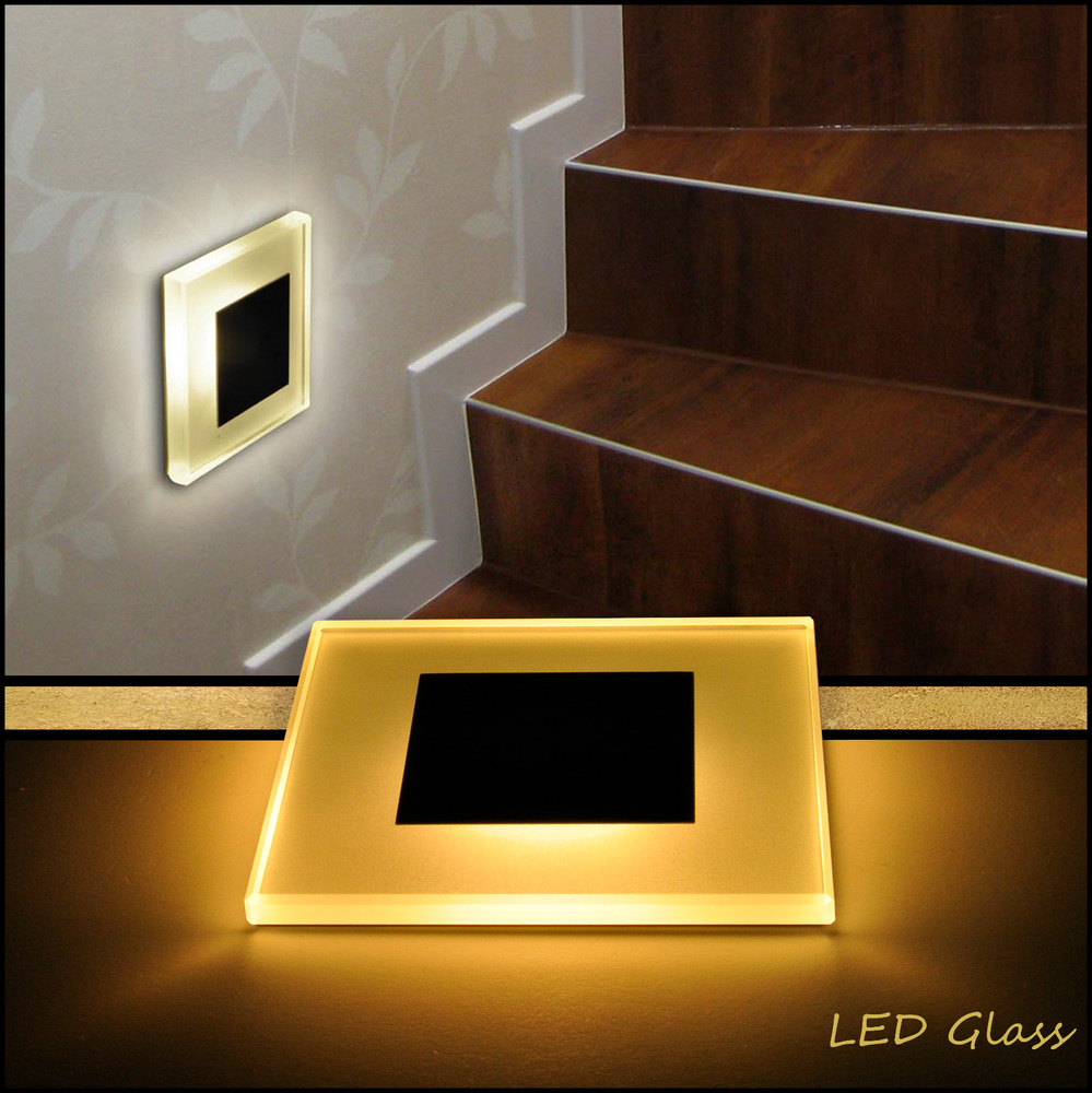 75x75mm led glas wandlicht treppenlicht einbaustrahler 1w 230v stufenbeleuchtung ebay. Black Bedroom Furniture Sets. Home Design Ideas