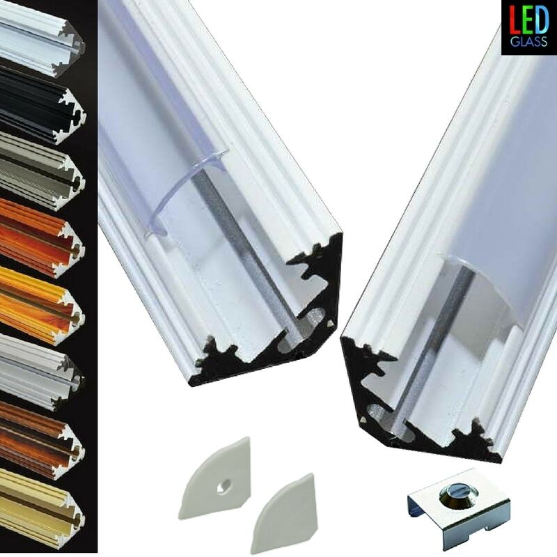 led aluprofil alu profile aluminium strip eckprofil leiste profil mit abdeckung ebay. Black Bedroom Furniture Sets. Home Design Ideas