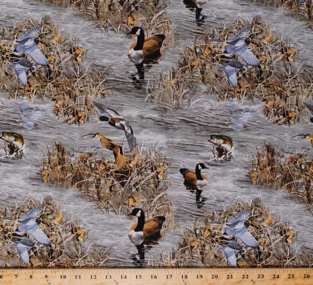 Realtree canadian geese ducks birds fish nature cotton for Outdoor fishing