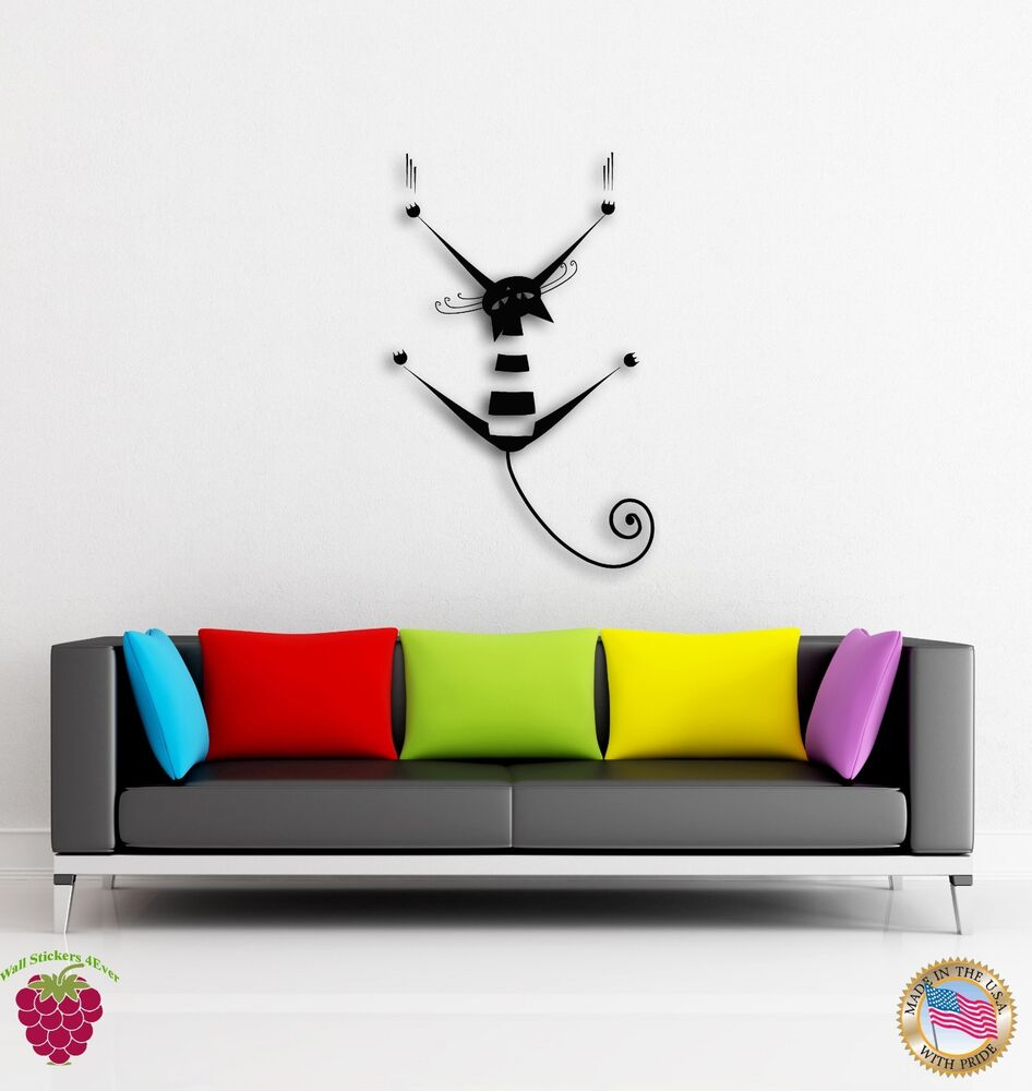 Wall Stickers Vinyl Cat Kitty Pets Scratch Funny Decor For