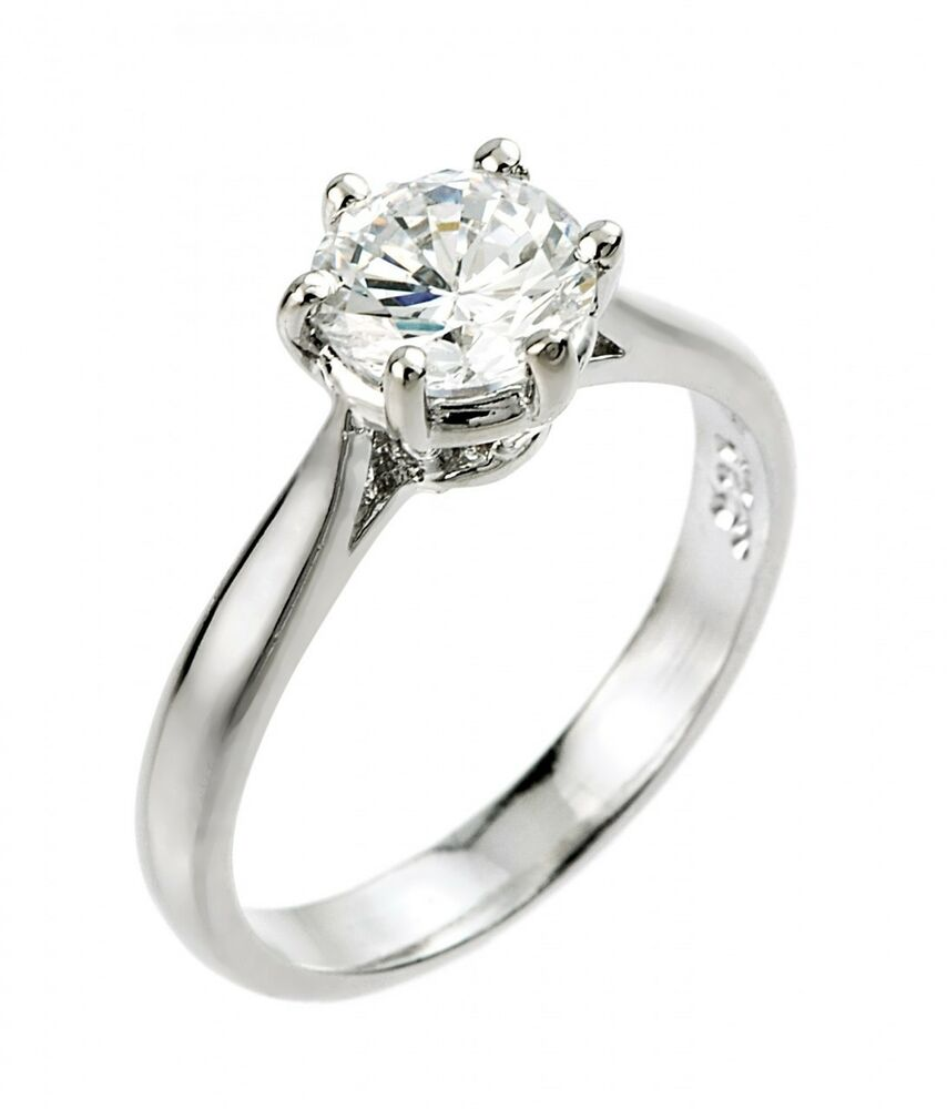 Women's 14K White Gold 1ct (6mm) Round Solitaire CZ ...