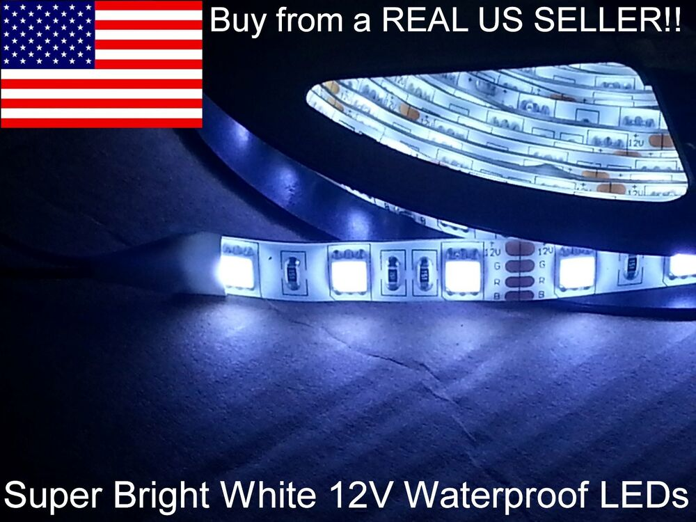 led strip 60 m 12v bright white waterproof adhesive back car lights us ship ebay. Black Bedroom Furniture Sets. Home Design Ideas