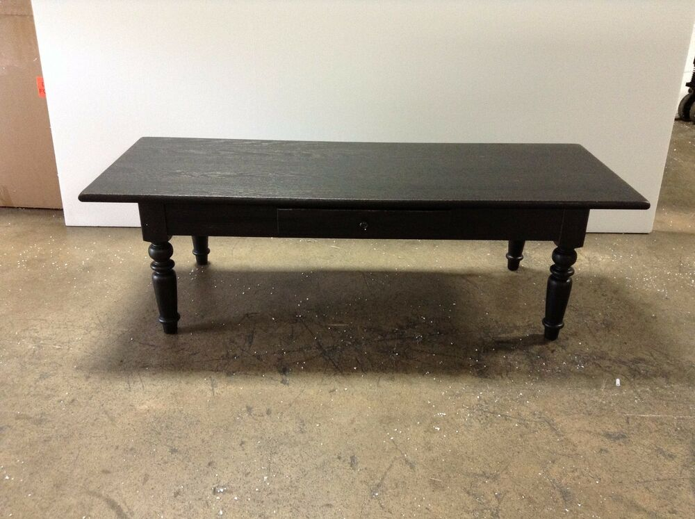 Pottery Barn Pb Trivoli Artisinal Black Stain Wood Sofa Coffee Table Shelf Nib Ebay