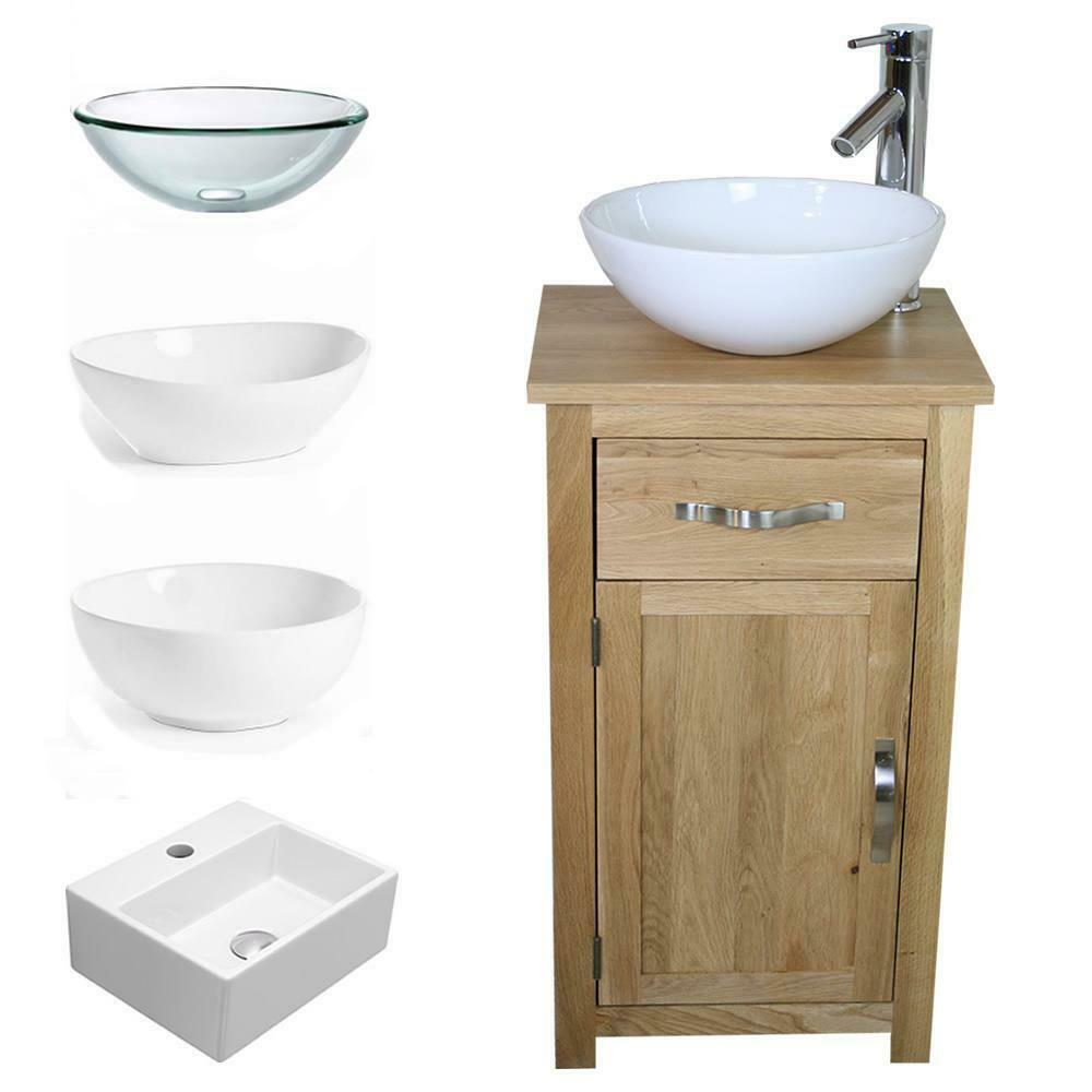 Solid Oak Bathroom Cabinet Compact Vanity Sink Small