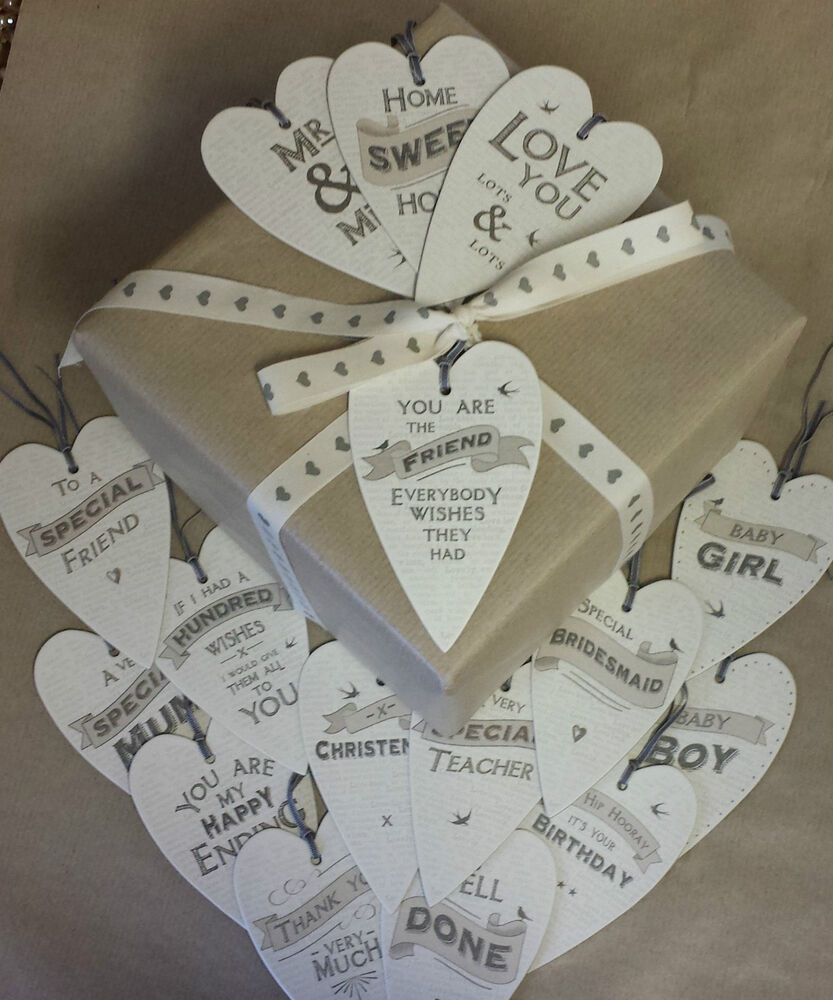 Wedding Gift For Best Friend India : East Of India Heart Gift Tag Vintage Chic Wedding Tags Friend Birthday ...