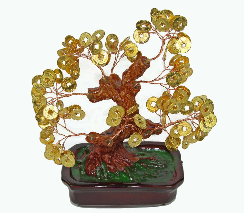 chinese feng shui bonsai gold coin money tree 7 lucky wealth abundance ebay. Black Bedroom Furniture Sets. Home Design Ideas