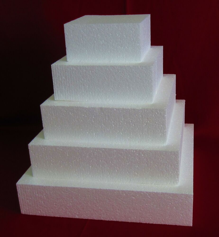 New Foam Cake Dummy Set 5 Pc Square 6 Quot To 14 Quot At 3 Quot Thick