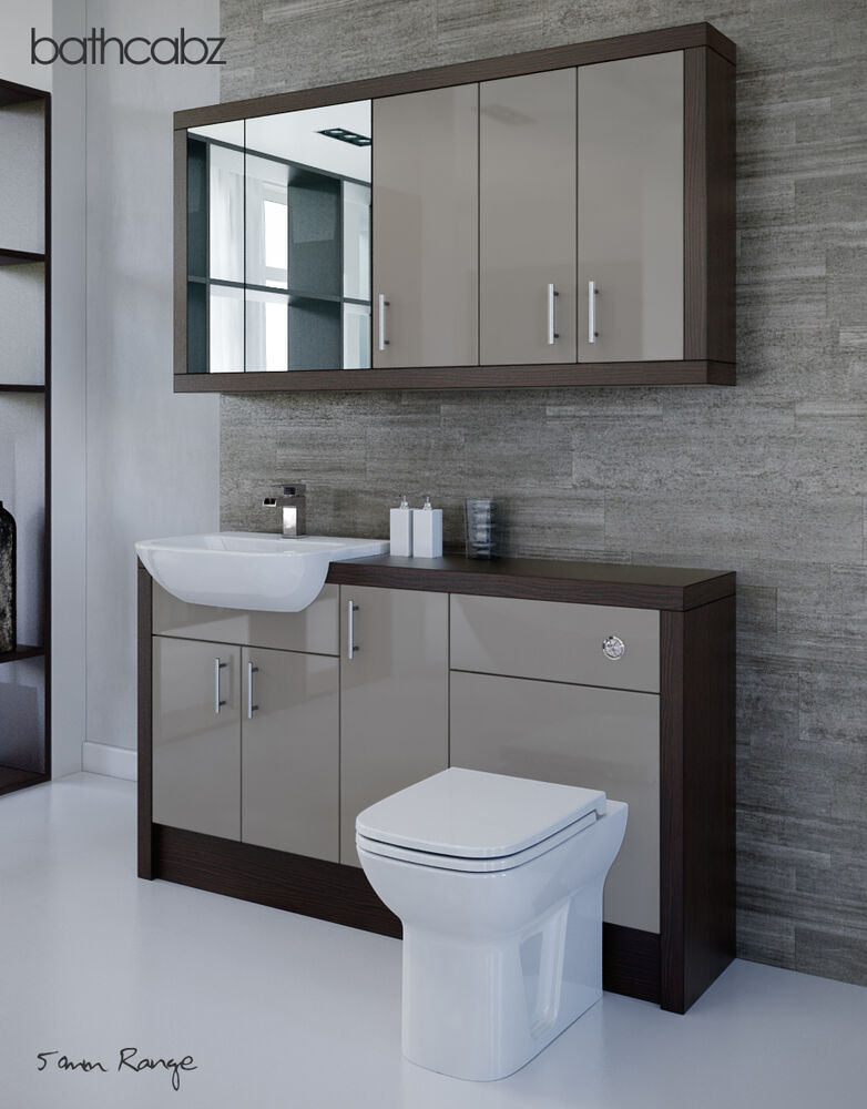 latte mocha bathroom fitted furniture 1500mm with wall. Black Bedroom Furniture Sets. Home Design Ideas