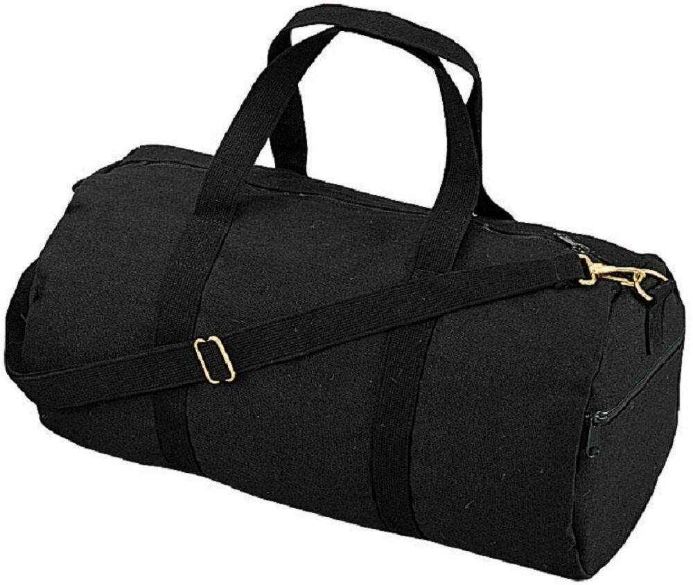 BLACK Canvas Sports Gym Duffle Carry Shoulder Bag & Strap ...