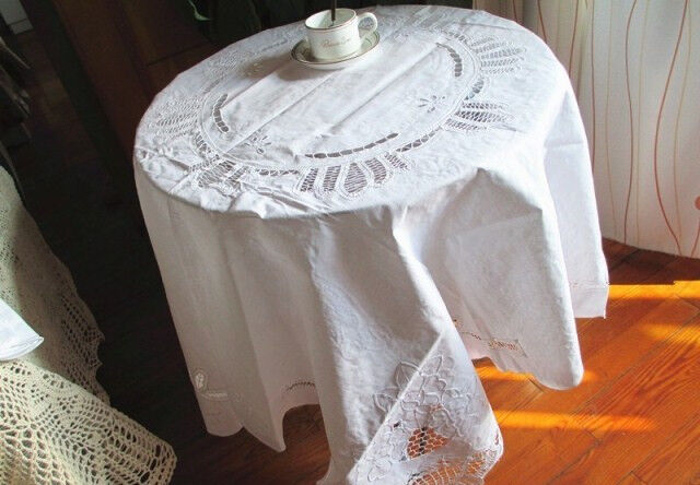 Vintage 54 square hand batten lace cutwork white cotton for White cotton table cloth